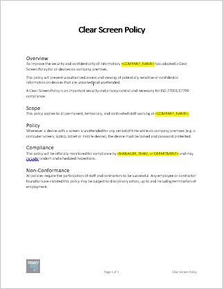 Clean Desk Policy Template Clear Screen Policy Template Free Download